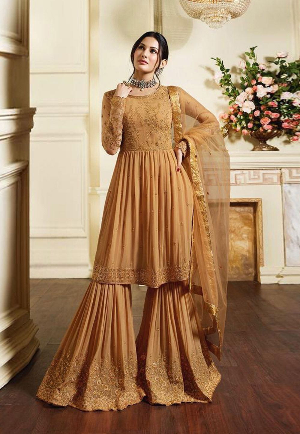 c55e0d4317 Buy Beige Georgette Sharara Style Suit 158666 online at lowest price from  huge collection of salwar kameez at Indianclothstore.com.
