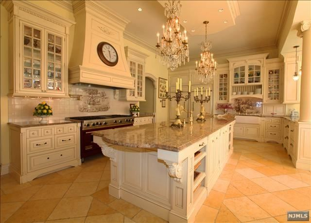 Elegant Kitchen, French Chateau Style Home. Very Pretty