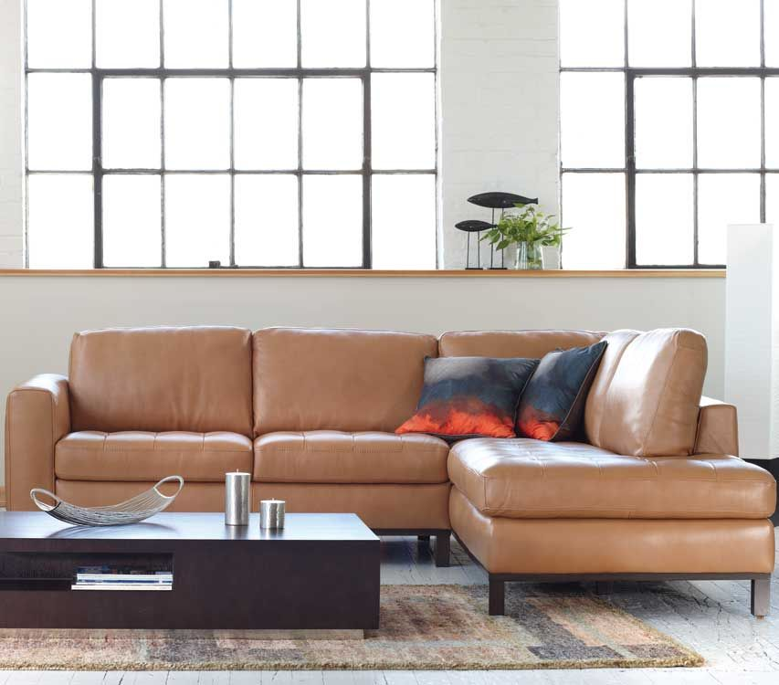 Genial Quadra Sectional By Natuzzi Editions In Saddle Leather, Cubeo Coffee Table  | Kasala
