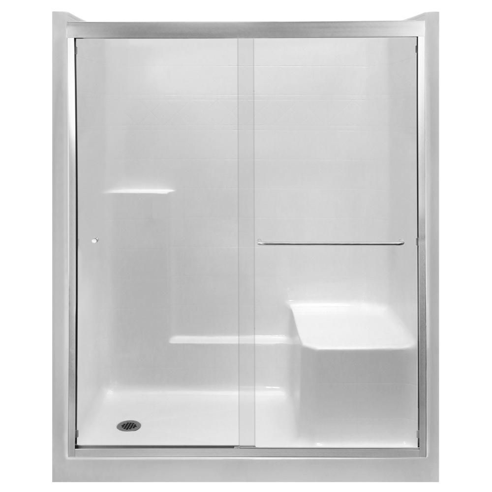 Ella Standard 60 In X 36 In X 77 In Left Drain Alcove 1 Piece Shower Stall In White With Right Seat Nickel Sliding Door 6036shrwht Sn Shower Stall Glass Shower Panels Sliding Doors