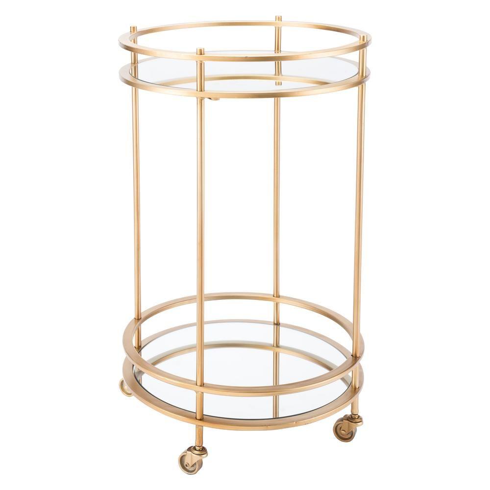 Round Gold Bar Cart
