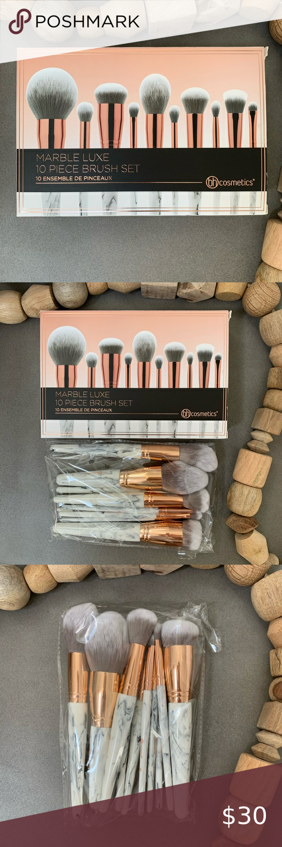 Bh Cosmetics 10 Piece Marble Brush Set In 2020 Bh Cosmetics Brush Set 10 Things