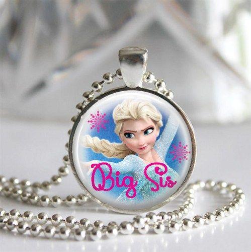 Big Sis Elsa Frozen Sister Silver Bezel Glass Tile Pendant Necklace | c0nfus3dgurl - Jewelry on ArtFire