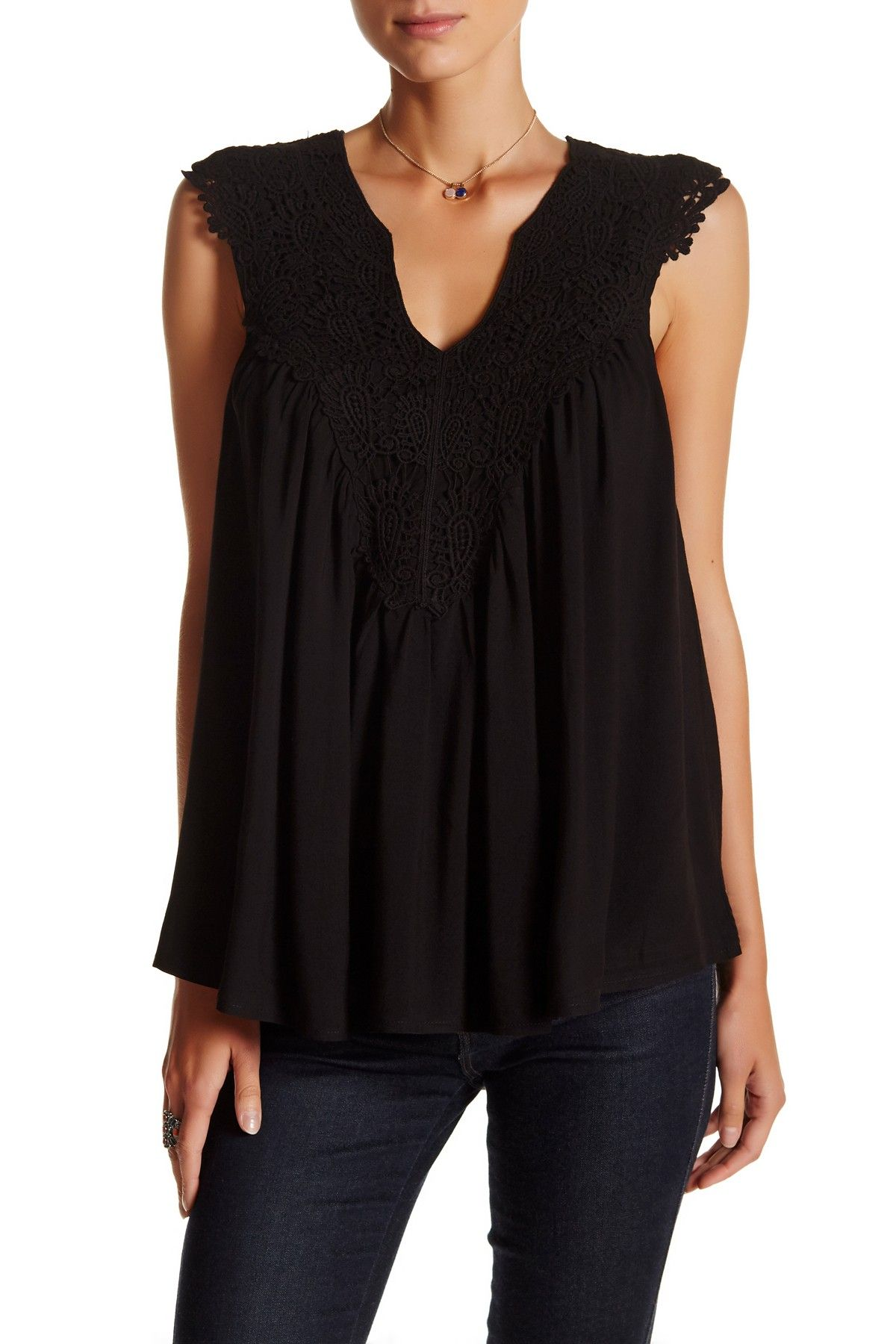 Sleeveless Lace Woven Top