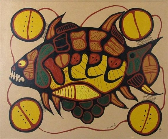 """Artwork by Norval Morrisseau, """"Primative Fish"""", Made of serigraph on board"""