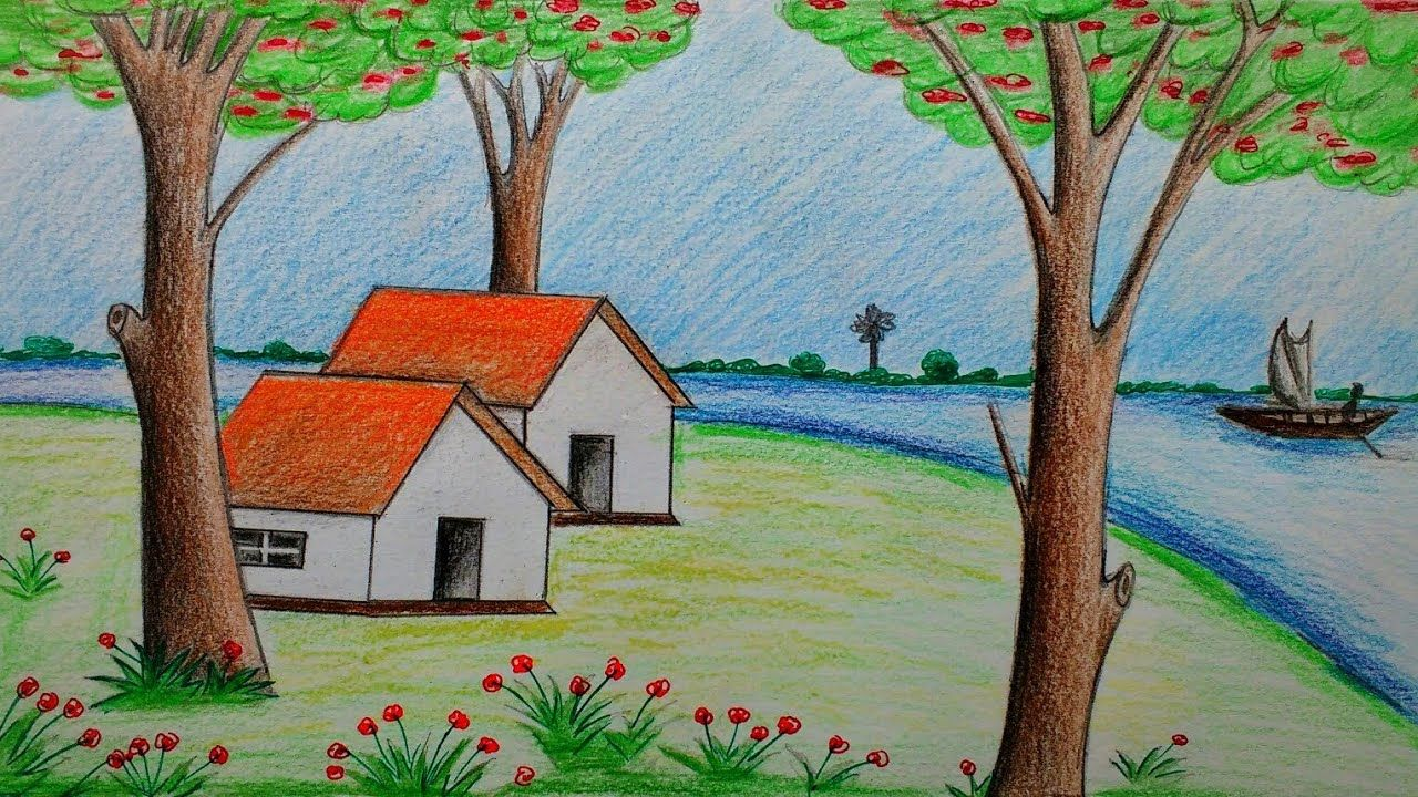 How To Draw Beautiful Scenery With Colour Pencils Youtube Drawings Art Drawings Art