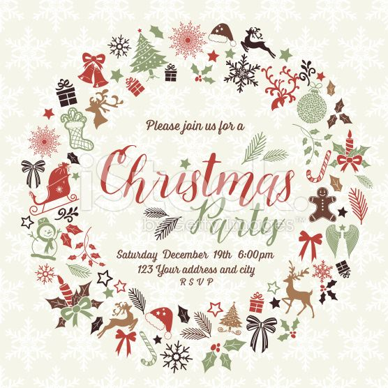 christmas party invitation template in wreath shape the text is