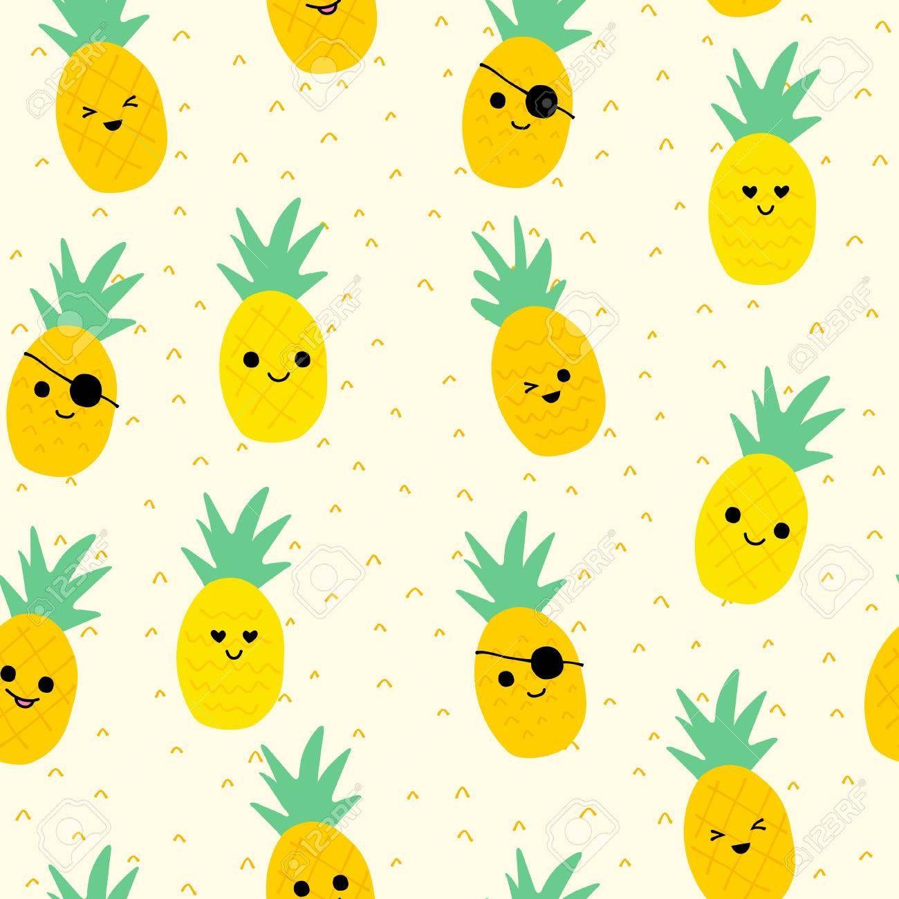 Seamless Pineapple Pattern Cute Pineapple Doodle Pattern For Cute Pineapple Wallpaper Pineapple Wallpaper Doodle Patterns