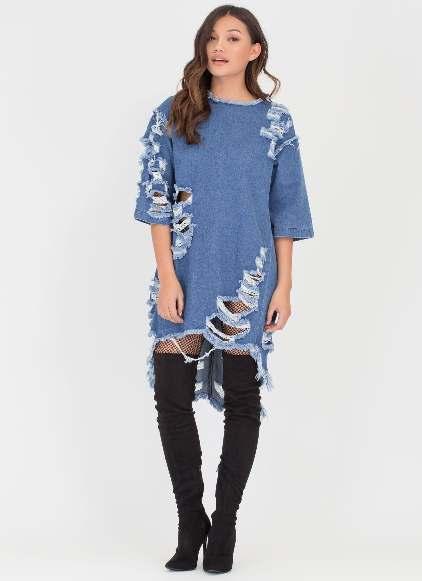 Jean Chaser Distressed High-Low Dress GoJane.com   Casual Wear ...
