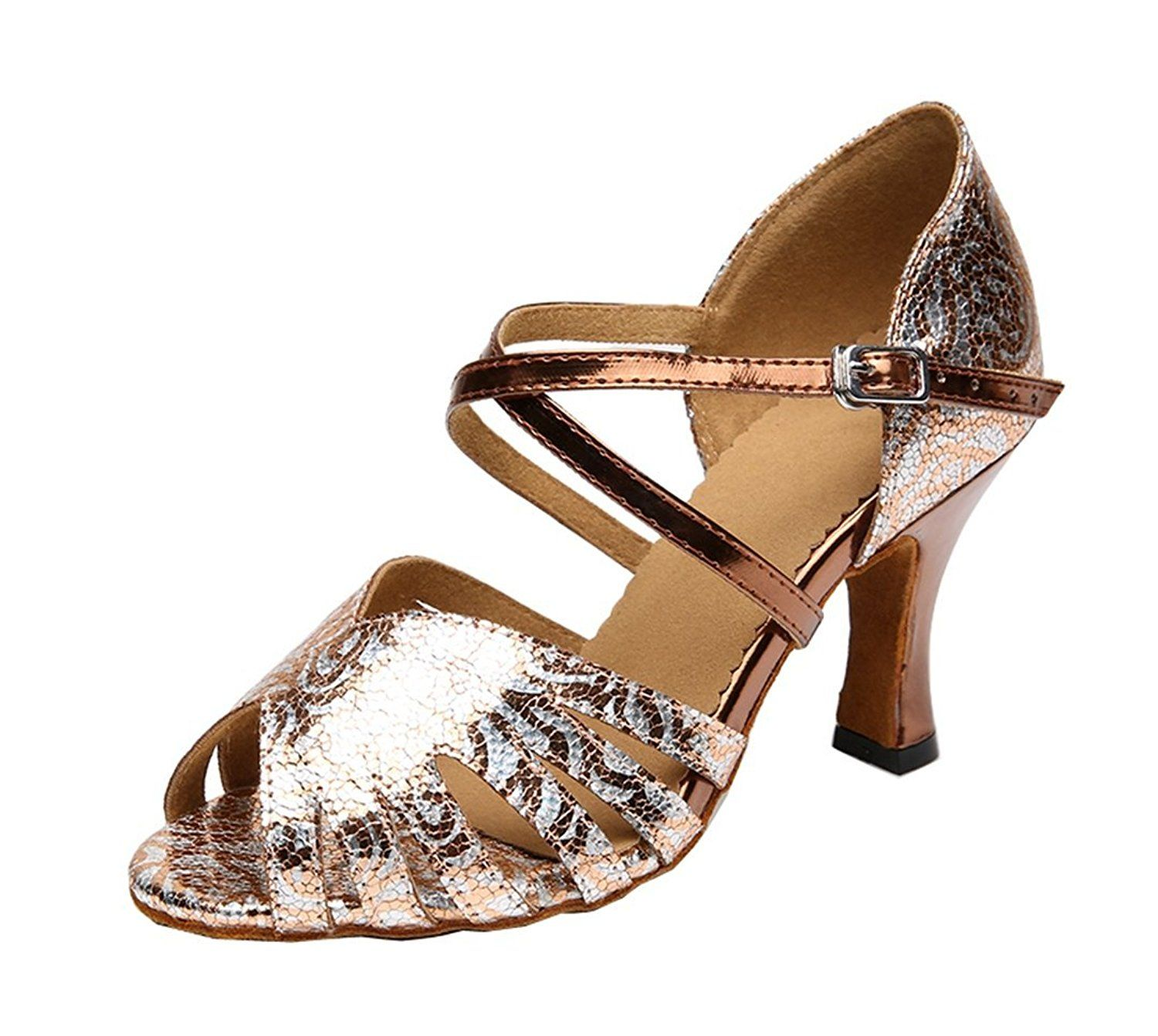Tda Womens Ankle Strap High Heel P Toe Bronze Salsa Tango Ballroom Latin Modern Dance Wedding Shoes 75 M Us Check Out This Great Product