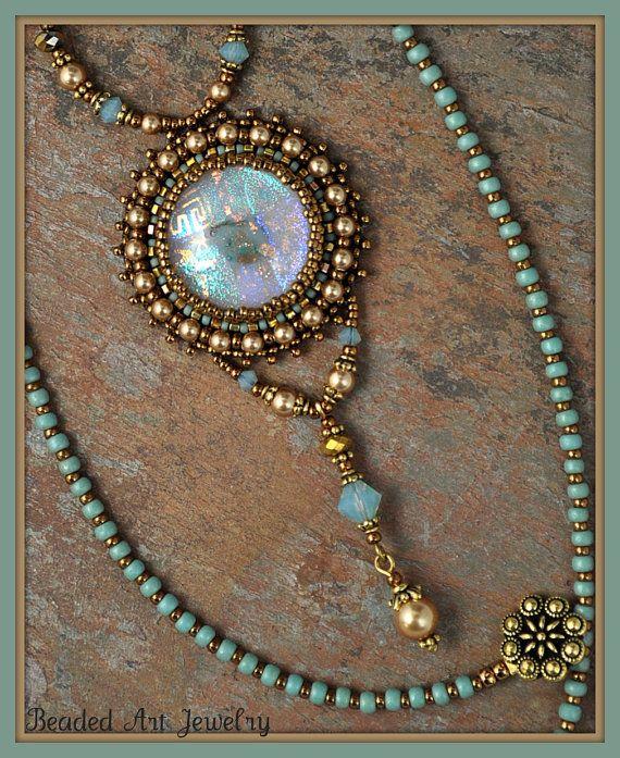 Perline perline ricamate collana di vetro dicroico