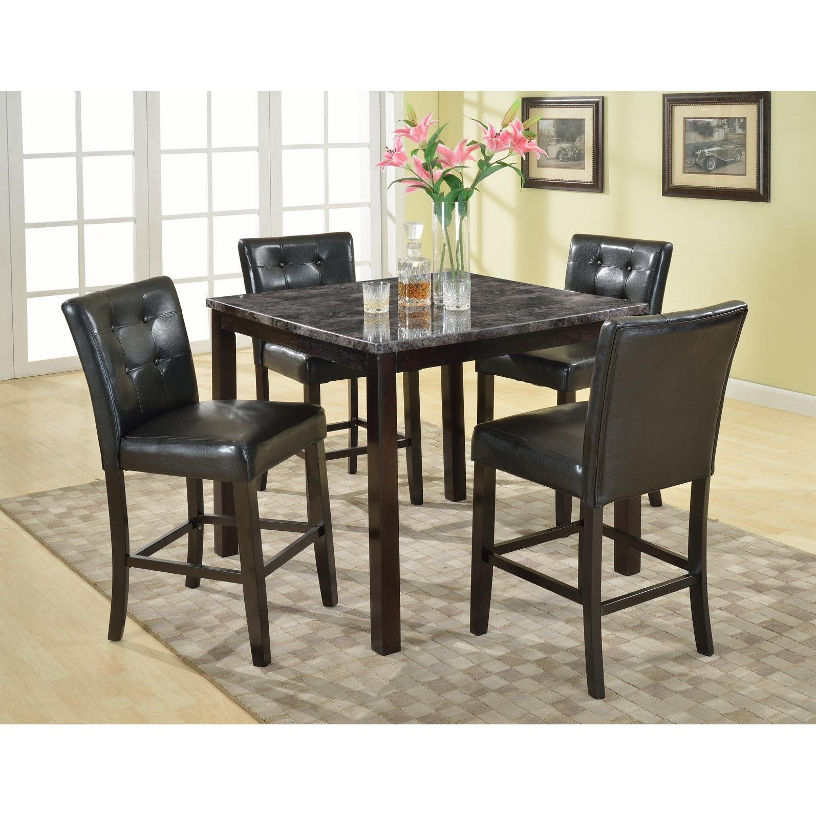 Praia 5pc articifial marble top pub set dining table 4 chairs the rich contemporary design of this counter height dining room collection features faux