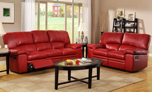 leather recliner sofa red color