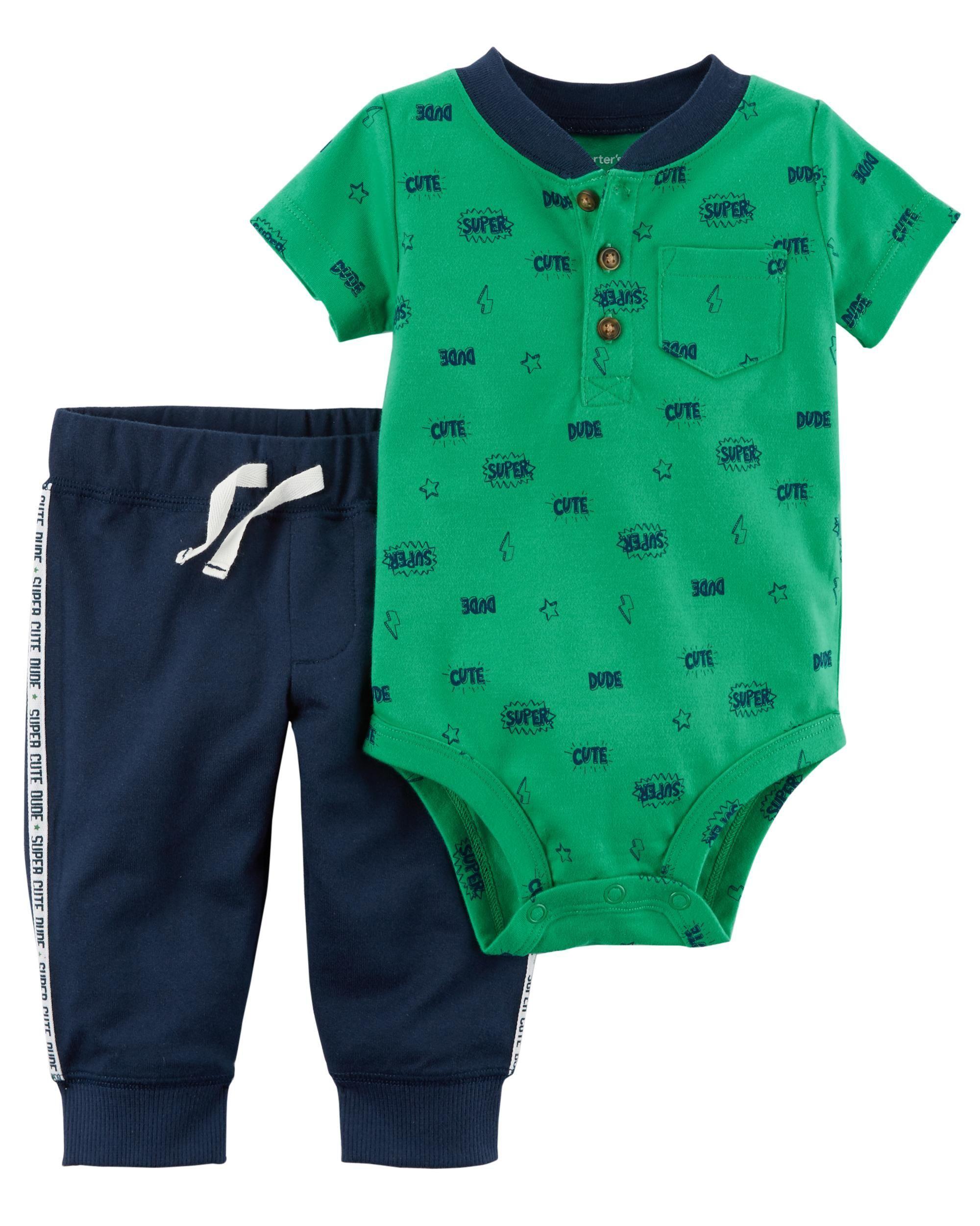 2-Piece Bodysuit Pant Set   Carters baby boys, Baby boy pants, Kids outfits