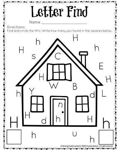 cute letter find worksheets with a freebie letter h preschool worksheets preschool letters. Black Bedroom Furniture Sets. Home Design Ideas