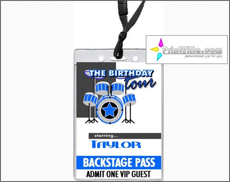 Drummer VIP Pass Birthday Party Invitations, Choice of Blue or Pink ...