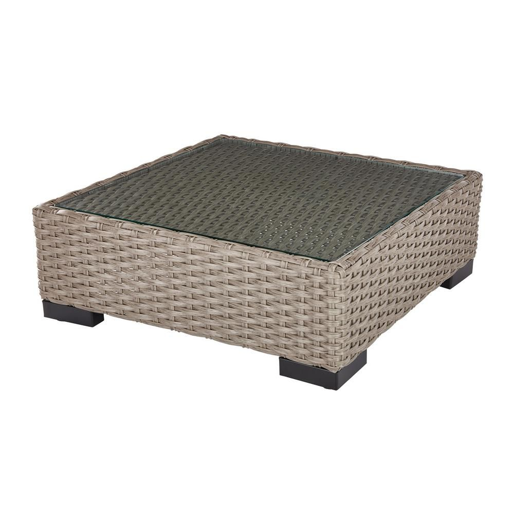 - Hampton Bay Commercial Gray Square Wicker Outdoor Coffee Table