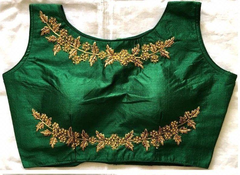Designer Readymade Floral Work Banglori Silk Wedding Saree Stitched Embroidery Blouse Crop Sari Top Work For Women