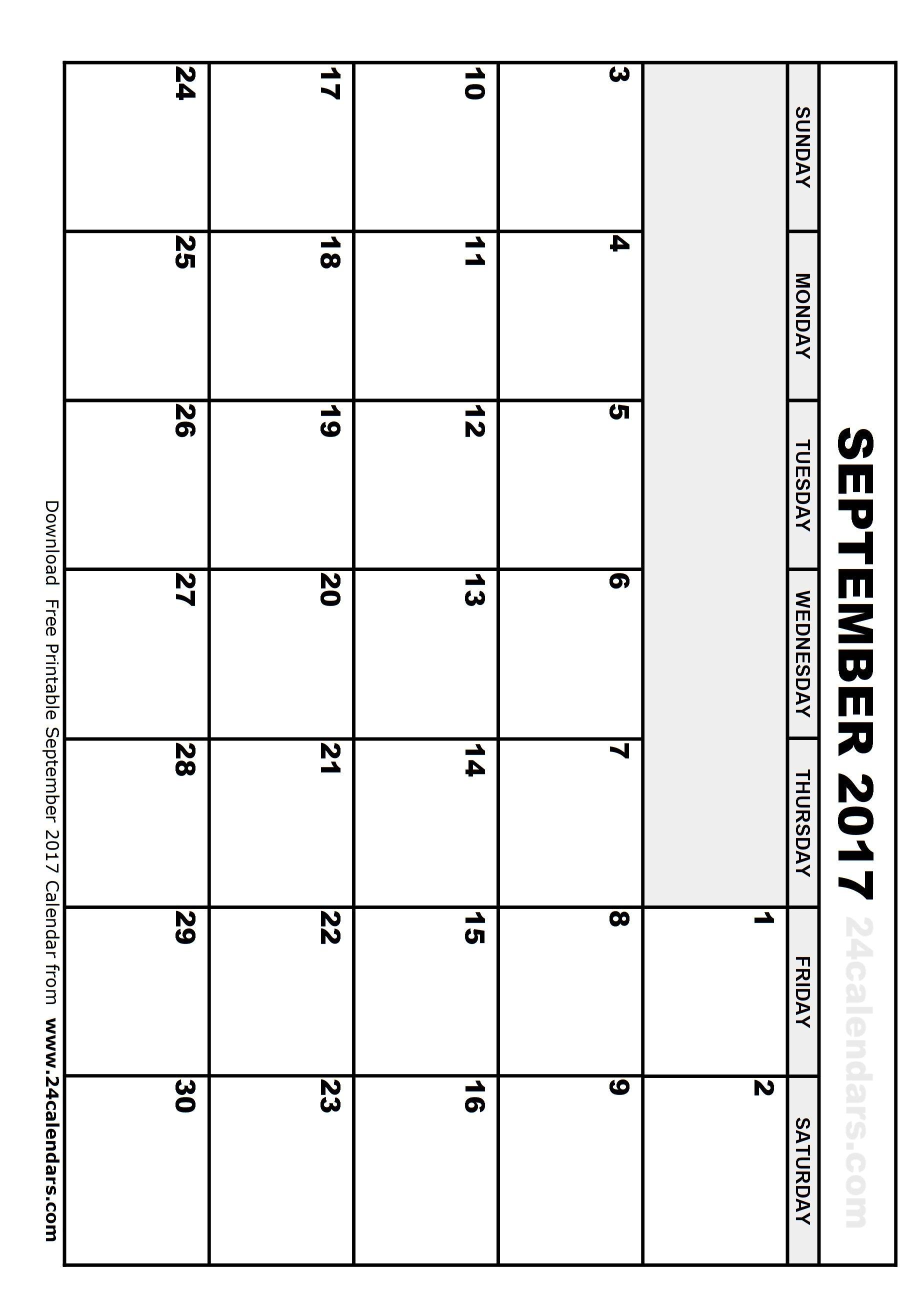 Printable Calendar September 2017