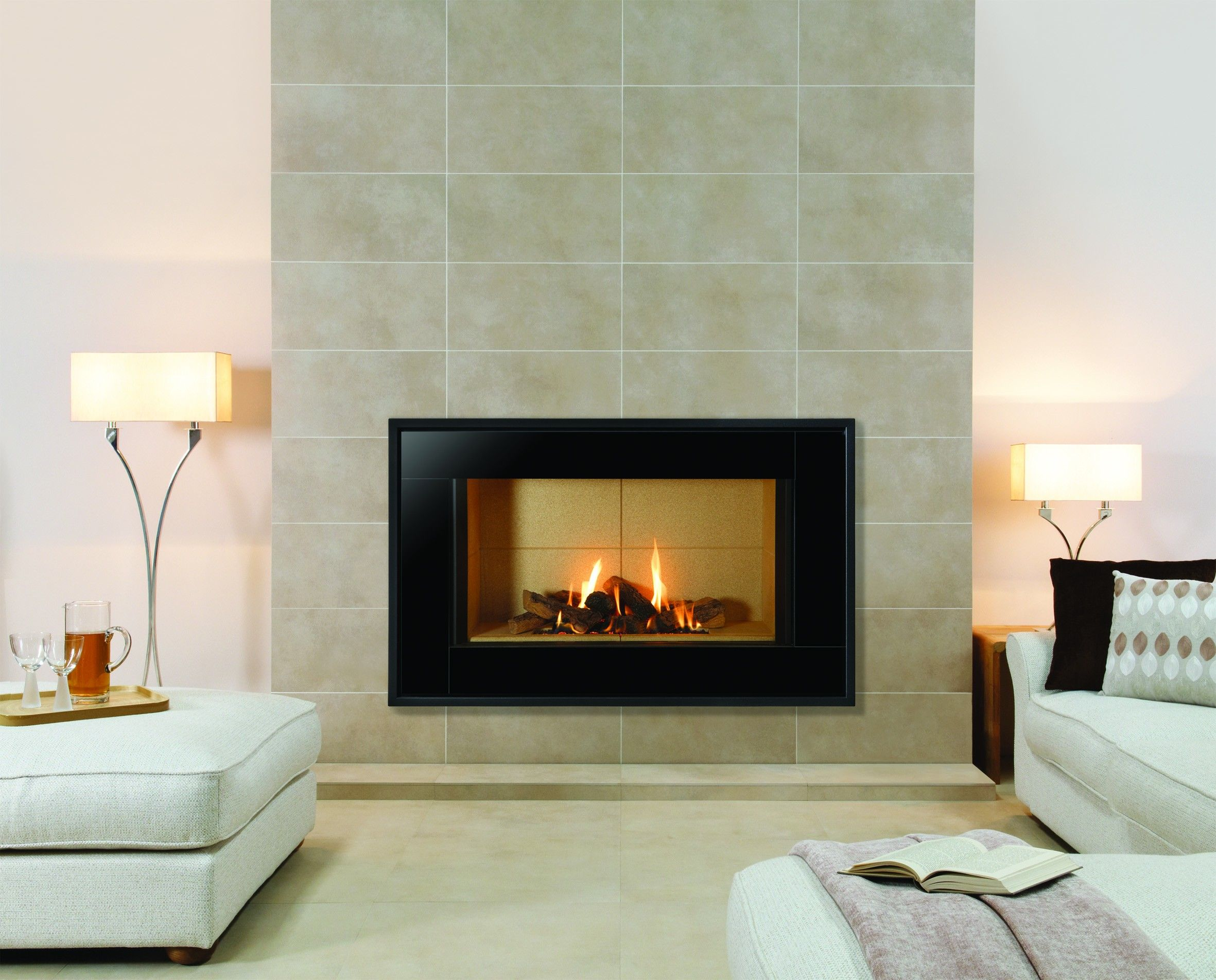 Decoration Cool Modern Stylish Living Room With Minimalist Gas Fireplace Black Frames And Slate