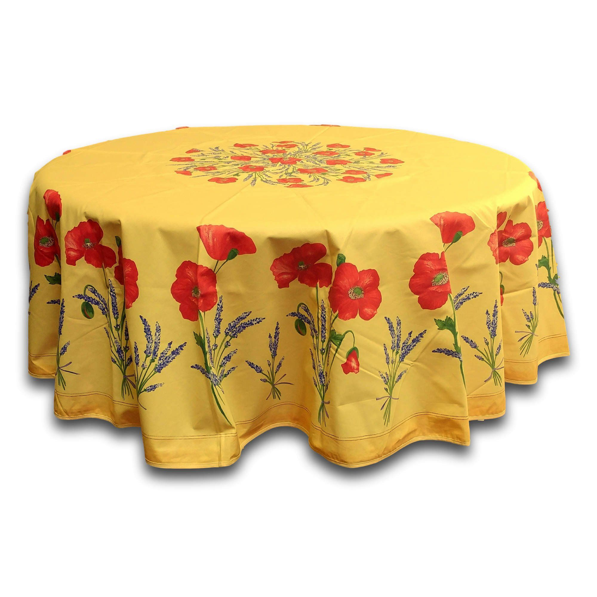 French Provencal Poppy Cotton Round Tablecloth Rectangular Acrylic ...