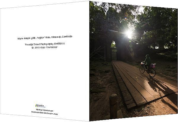 Greetings Card-Bayon temple gate, Angkor Thom, Siemreap, Cambodia-Photo Greetings Card made in the USA