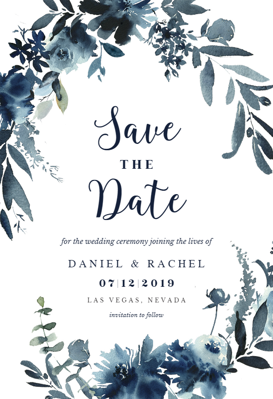 Indigo Flowers Save The Date Card Template Greetings Island Save The Date Pictures Save The Date Templates Electronic Save The Date