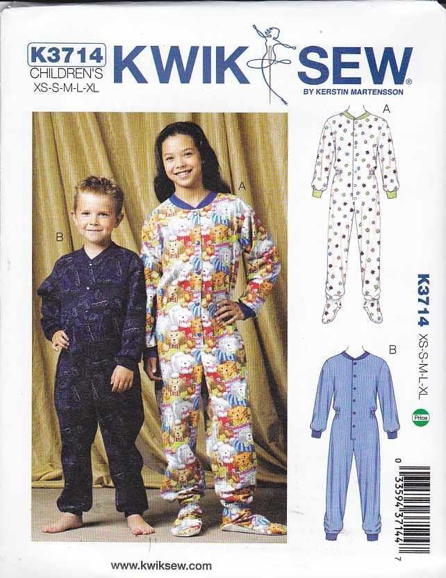 Kwik Sew Sewing Pattern 3714 Boys Girls Sizes 4-14 Footed Sleeper ...