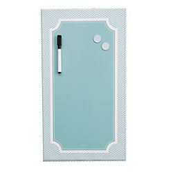 See Jane Work Magnetic Dry Erase Board Blue Herringbone By Office Depot Officemax