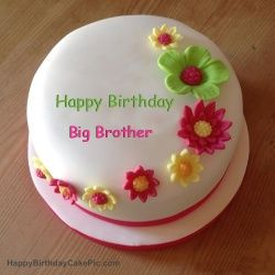 Big Brother Happy Birthday Colorful Flowers Birthday Cake For Big