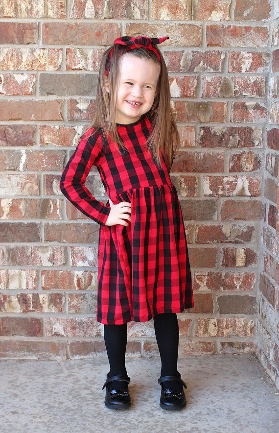 2e5b523e9f9 Girls Red Buffalo Plaid Dress - Girls Dress - Baby Dress - Christmas ...