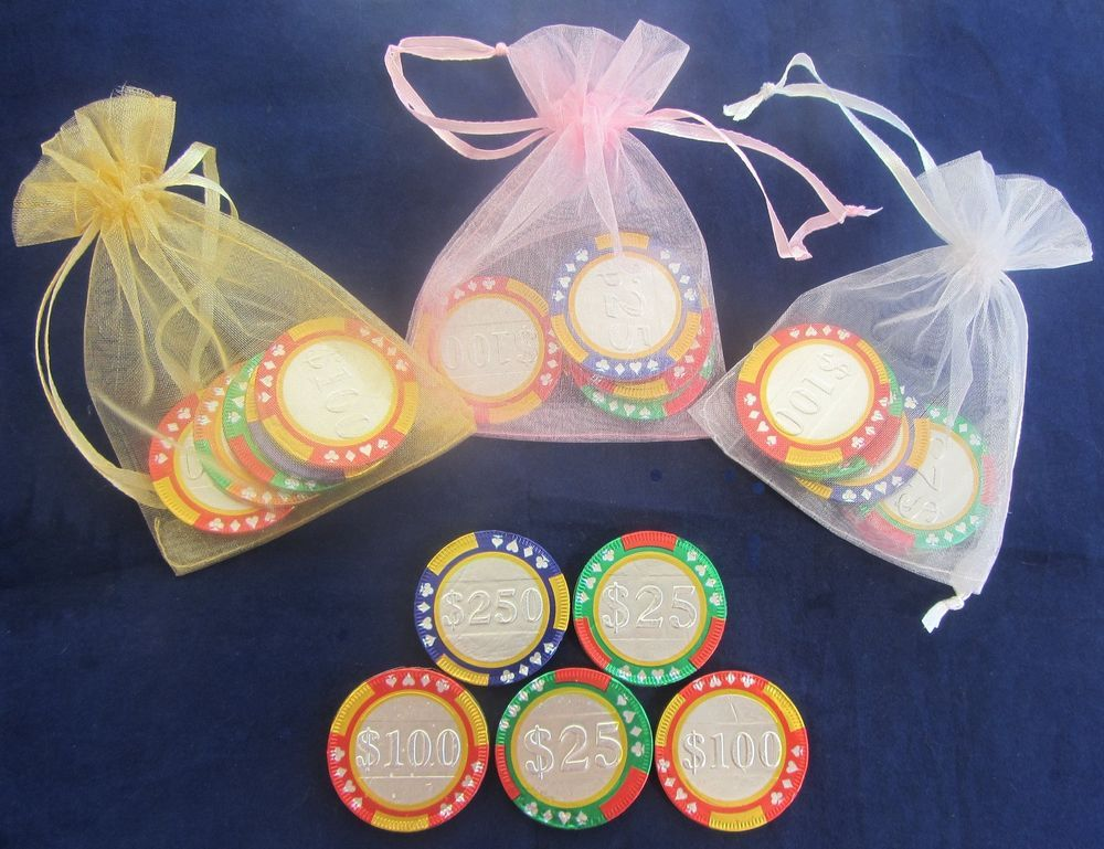 Casino Chip Themed Chocolate Wedding Favourssweets Party Bag