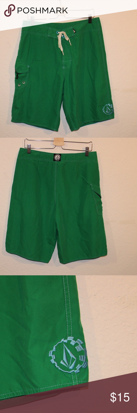 """VOLCOM Planer Mod Green Boardshorts Sz 34 NWOT VOLCOM Planer Mod 22"""" board short is made from 100% Polyester Supersuede for a soft feel even when wet. Features VOLCOM embroidery and modular zip-fly technology. Features cotton draw cord. All reasonable offers considered. Volcom Swim Board Shorts"""