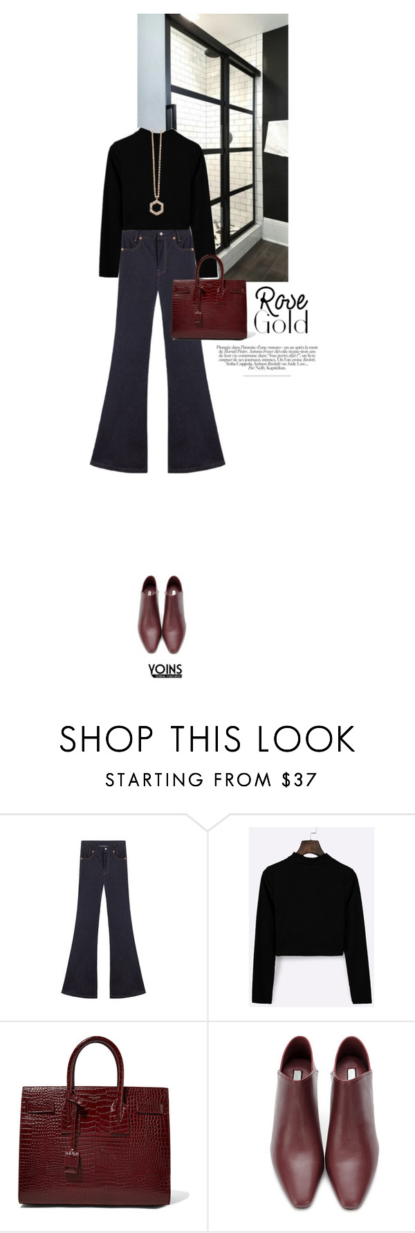 """YOINS"" by s-thinks ❤ liked on Polyvore featuring Yves Saint Laurent, Astley Clarke, sweaters, rosegold, Minimaliststyle, Winter2016 and WinterLayers"