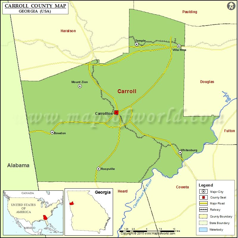 Map Of Georgia Usa Counties.Pin By Mapsofworld On Usa Maps In 2019 County Map Carroll County
