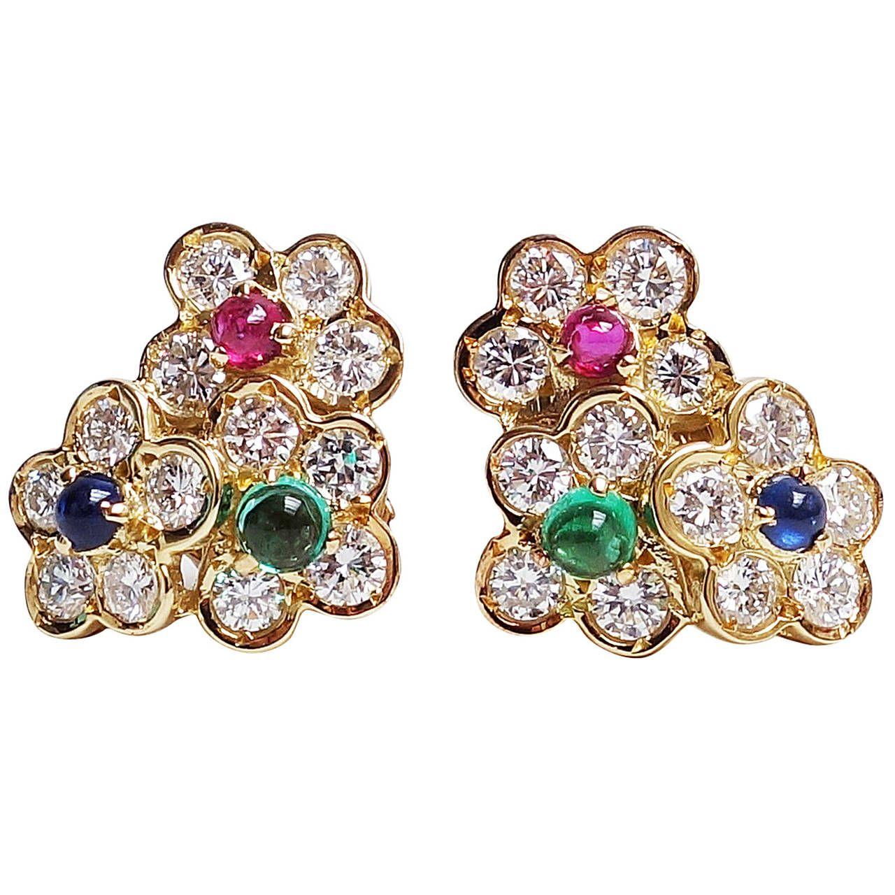 Van cleef arpels emerald ruby sapphire diamond gold flower earrings