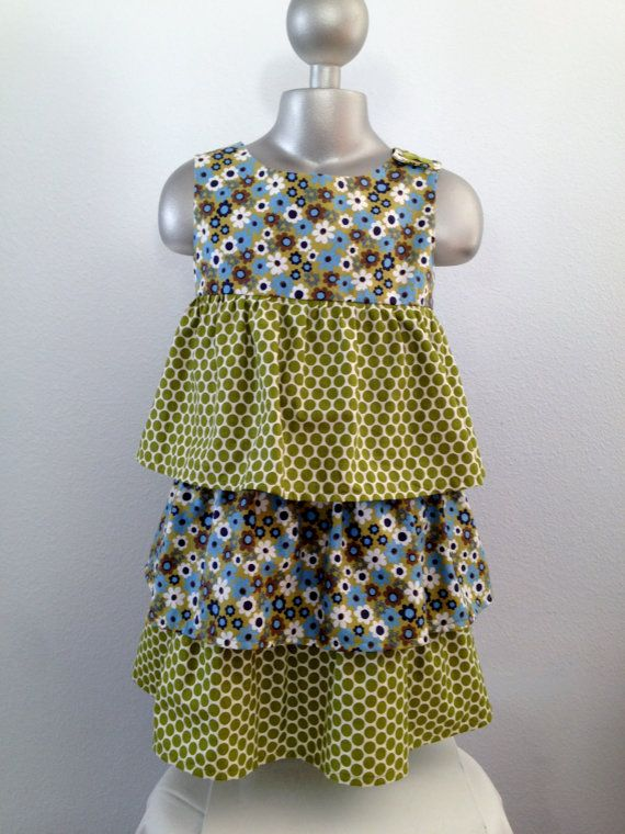 Triple Layer Ruffled Dress Twirl Dress Daisy by BabySuzannaJohanna, $40.00