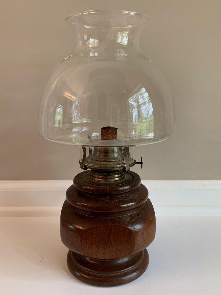 Vintage Lamplight Farms Wood Base Hurricane Oil Lamp W Large Shade Hurricane Oil Lamps Oil Lamps Vintage Lamps