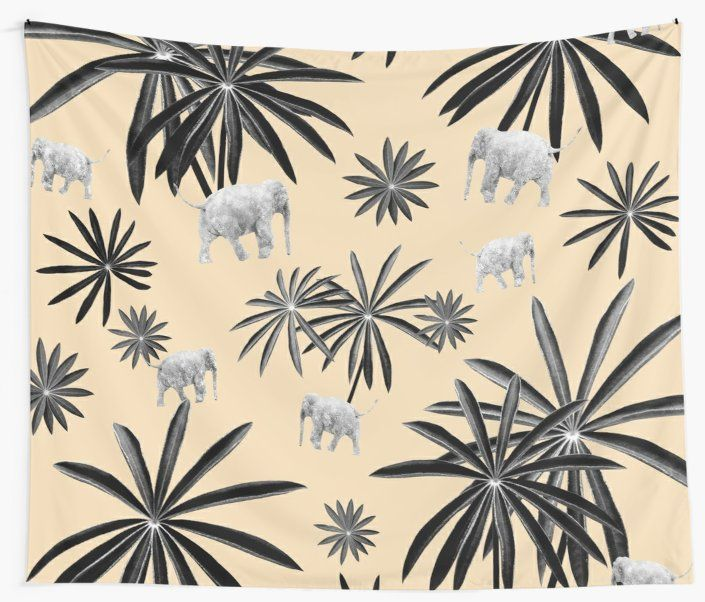 'Palm Tree Elephant Jungle Pattern #2 (Kids Collection) #decor #art ' Wall Tapestry by anitabellajantz #junglepattern