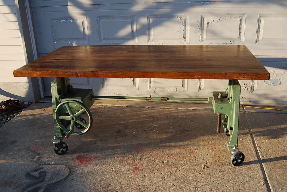 Vintage cast iron industrial crank adjustable table desk base furniture ant - Table basse ajustable ...