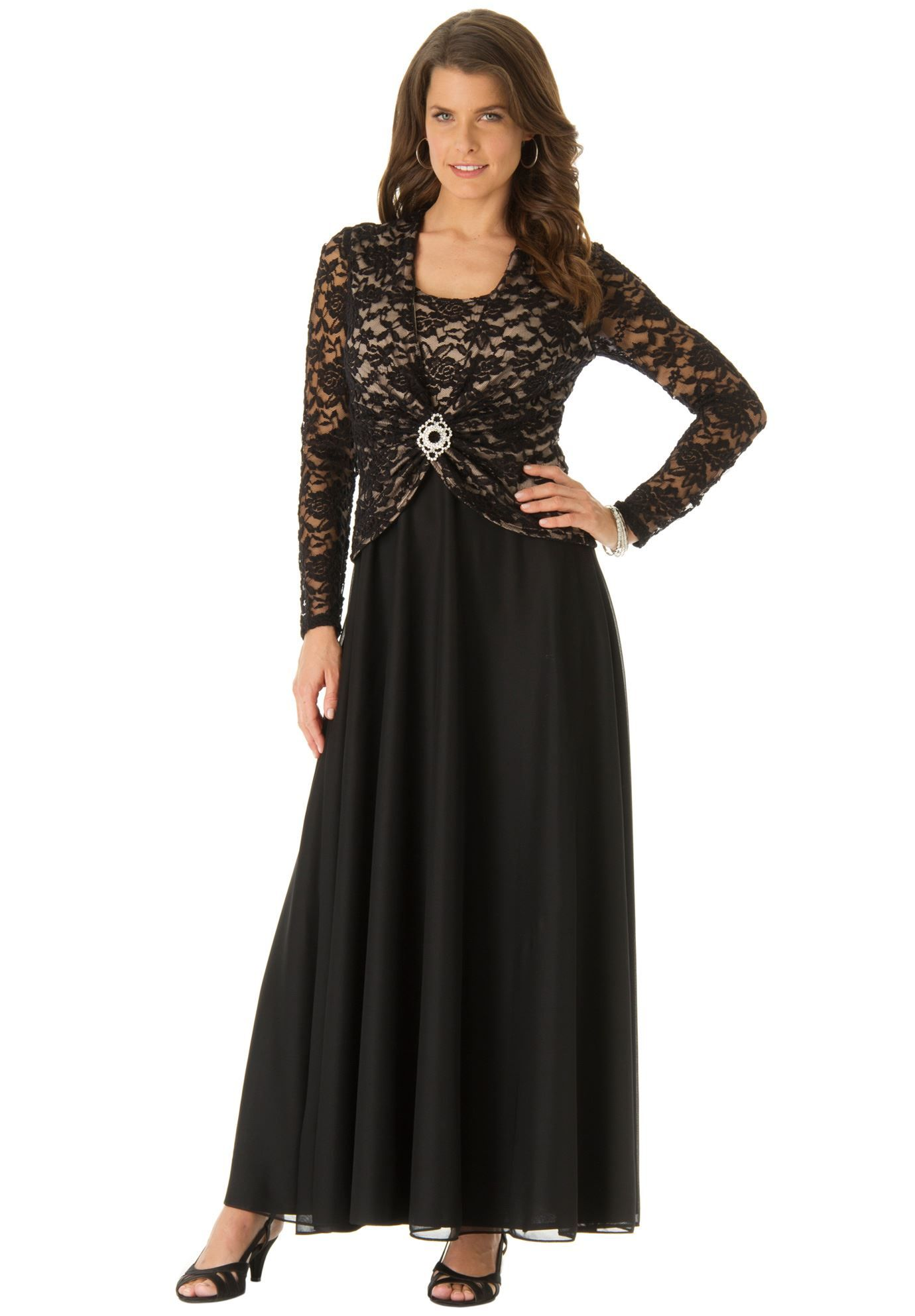 Plus size maxi dresses for summer wedding  Plus Size Lace Brooch Dress  weddings  Pinterest  Brooches and
