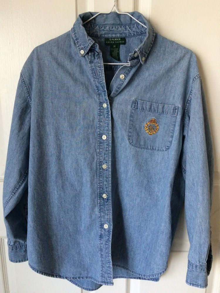eab366337 Lauren Ralph Lauren Womens Button Down Denim Jean Shirt Long Sleeve Crest  Medium #LaurenRalphLauren #ButtonDownShirt