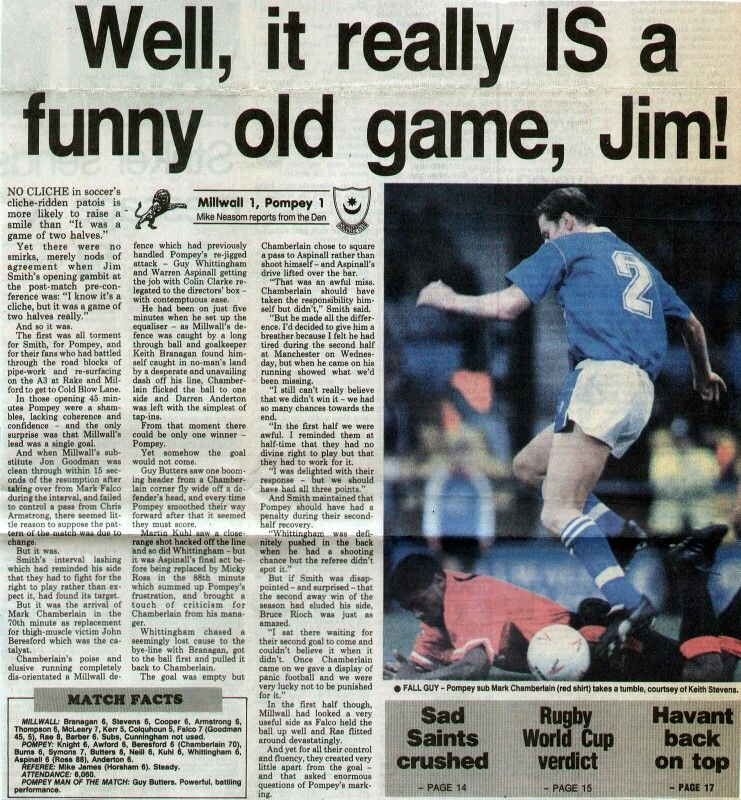 Millwall 1 Portsmouth 1 in Nov 1991 at The Den. Newspaper report on the Division 2 meeting.