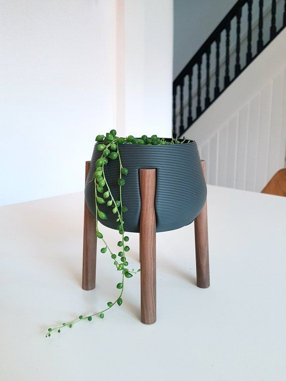 Charcoal Planter with Walnut Legs  3D Printed Plant Stand