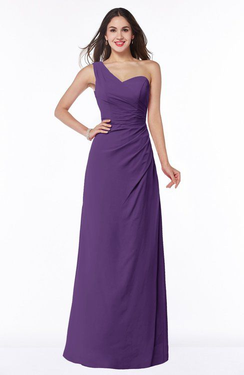 Sexy A-line One Shoulder Sleeveless Chiffon Floor Length Plus Size Bridesmaid Dresses