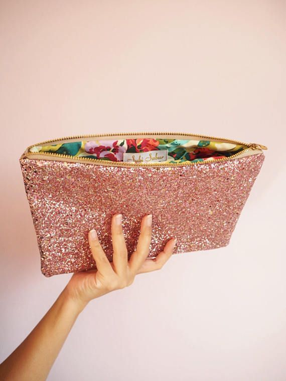 Blush Pink Glitter Clutch Bag Sparkly Party Evening