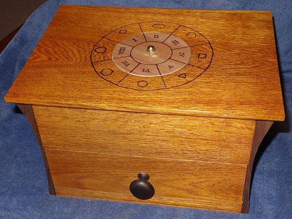 Mysterious Wood Puzzle Box With Locked Drawer Maple