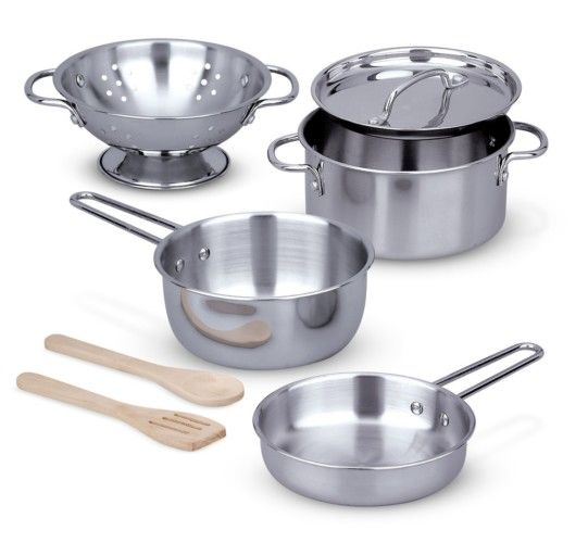 Melissa & Doug Stainless Steel Pots and Pans Pretend Play Kitchen Set for Kids (8 pcs) $17.24