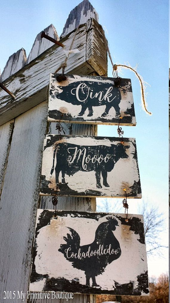 Barn Signs Decor Kitchen Signs Farm House Signs Pig Cow Rooster Kitchen Decor