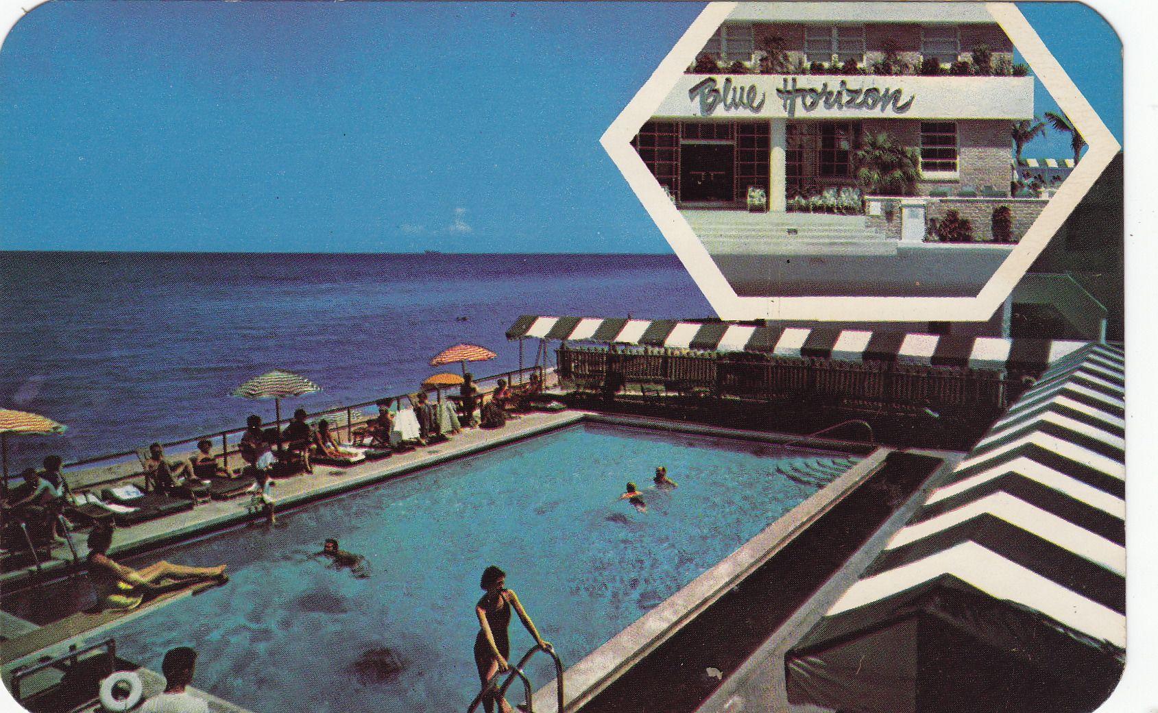 Blue horizon hotel miami beach fl vintage postcards
